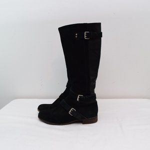 Ugg Cyndee Boots 9 Black Suede Full Zip Riding Boo